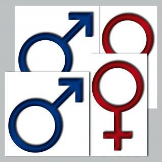 4 Stück Aufkleber Sticker Toilette WC Bad Tür Hinweis Mann Mars Frau Venus