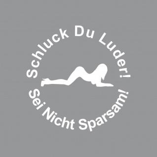 2 Aufkleber 10cm weiß Tattoo Schluck Du Luder pin up girl Auto Tank Deckel Folie