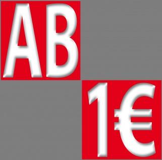 2 Aufkleber je 10cm AB + 1€ Sticker Zeichen Rabatt Preis Aktion Hinweis auf SALE - Vorschau 4