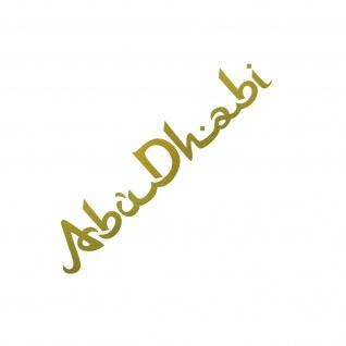Schriftzug Abu Dhabi 30cm gold Auto Tür Heck Fenster Aufkleber Tattoo Deko Folie