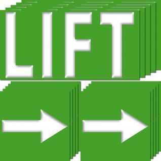 10 Aufkleber Lift 20cm + 10 Pfeile 10cm Sticker Aufzug Fahrstuhl Richtug Hinweis