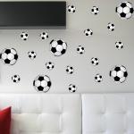 Aufkleber 7 x 20cm + 14 x 10cm Fußball Ball WM EM Fan Deko Auto Fenster Tür Wand