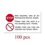 100 Aufkleber Sticker Nichtraucher Hotel Pension Zimmer Rauchverbot 3 Sprachen