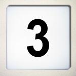 Ziffer 3 schwarz 12cm Aufkleber Tattoo Nummer Zahl Hausnummer Haus Tür Mülltonne