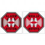 4 + 4 Stop Alarm System 5cm rot Aufkleber Sticker für Innenseite Fenster Scheibe