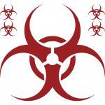 Set Aufkleber 50cm dunkelrot Bio Hazard Symbol Zeichen Tattoo Auto Deko Folie