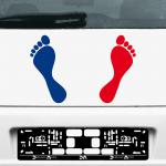 1 Paar 2 Füße 20cm rot / blau Fuß Abdruck Aufkleber Tattoo Auto Möbel Deko Folie