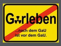 Aufkleber Sticker 7cm Gorleben nach dem GaU ist vor dem GaU Castor Strahlung