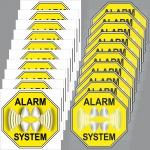 10+10 Aufkleber 5cm gelb Sticker Alarm System Set Innenseite Glas Fensterscheibe