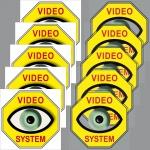 5+5 Aufkleber Video Auge gelb 5cm Alarm System Set für Innenseite Fensterscheibe