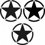 3 Aufkleber 7cm matt schwarz USA US Sterne Auto Tattoo Deko Folie Autoaufkleber