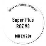 Aufkleber Sticker Super Benzin ROZ 98 DIN EN 228 Kraftstoff Tankstelle Zapfsäule