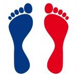 5 Paar 10 Füße 12cm bunt Fuß Abdruck Spur Aufkleber Auto Möbel Tattoo Deko Folie