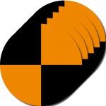 5 Aufkleber 10cm orange Sticker Fadenkreuz crashtest dummy Zeichen Symbol Marker