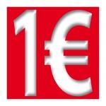 Aufkleber 1 Euro 10cm Sticker Zeichen Symbol Rabatt Aktion Sale Preis Ausverkauf