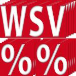 15 Aufkleber Sticker 5 WSV + 10 % Prozent Sale Rabatt Aktion Angebot Ausverkauf