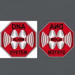 Set Aufkleber 10cm rot Sticker DNA System Warnung für Innenseite Glas Scheibe