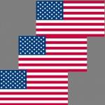3 Aufkleber 6, 5cm Sticker USA Amerika US Flag Fußball Fan EM WM Flagge Fahne