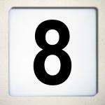 Ziffer 8 schwarz 15cm Aufkleber Tattoo Nummer Zahl Hausnummer Haus Tür Mülltonne