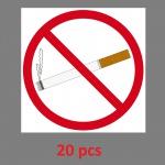 20 Aufkleber 10cm quadratisch Sticker Rauchverbot Nichtraucher Rauchen Verboten