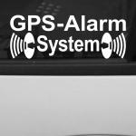 2 Aufkleber GPS Alarm System weiß Tattoo Folie Warnung gespiegelt innenklebend