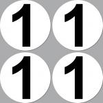 4 Aufkleber 10cm Start Nummer 1 Ziffer Zahl Auto Motorrad Rennsport Kart Gokart
