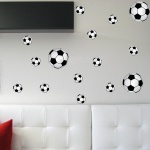 Aufkleber 5 x 20cm + 10 x 10cm Fußball Ball WM EM Fan Deko für Auto Fenster Wand