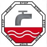 Aufkleber 5cm Sticker Stop Taste WC Bad 00 Toilette Wasser Spülung Spülkasten