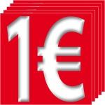 5 Aufkleber 1 Euro 10cm Sticker Zeichen Symbol Rabatt Preis Aktion Hinweis SALE