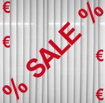 Aufkleber rot SALE + 4 Euro Zeichen + 2 Prozent Schaufenster Fenster Deko Folie