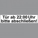 2 Aufkleber 20cm Sticker Tür ab 22 Uhr bitte abschließen verriegeln zuschließen
