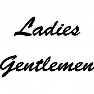 Ladies Gentlemen Aufkleber Tattoo Schriftzug Tür Hinweis Folie WC Toilette 00 - Vorschau 2