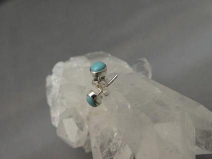 Ohrstecker : Arizona-Türkis - oval - 925er Silber