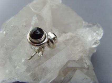 Onyx - Ohrstecker 925 Silber rund