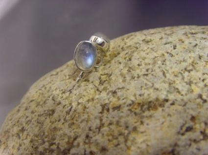 Ohrstecker-Mondstein oval - 925er Silber