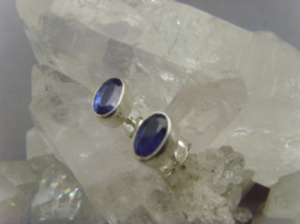 Ohrstecker oval - Kyanit - 925er Silber