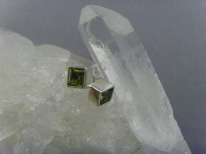 Peridot - Ohrstecker - facettiert viereckig - 925er Silber
