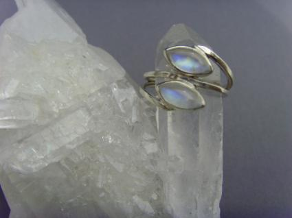 Mondstein - Ring 925er Silber Navettenform - Vorschau 3