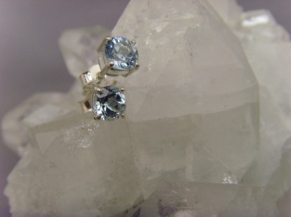Blautopas Ohrstecker - Rund Facettiert - 925er Silber