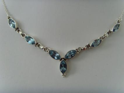 Blautopas - Collier Navettenform - Silber 925