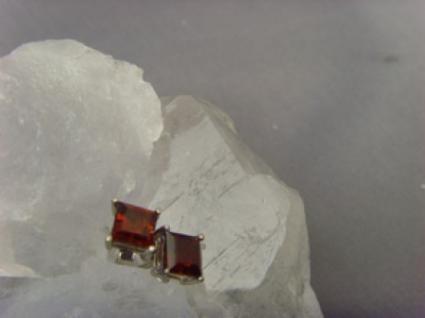 Ohrstecker Granat 925 er Silber quadratisch - Vorschau 3