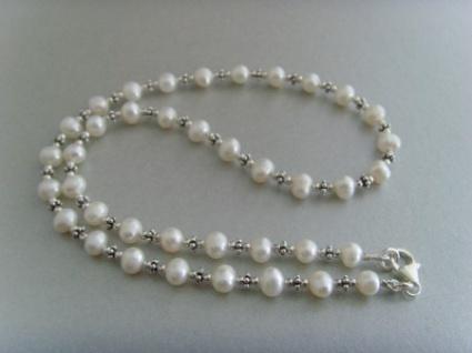Süßwasser - Perlenkette mit Silberelementen aus 925er silber