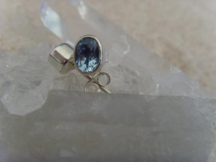 Ohrstecker-Blautopas facettiert - oval - 925er Silber