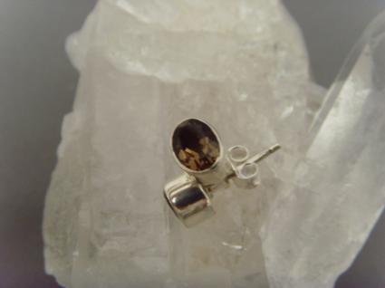 Ohrstecker-Rauchquarz facettiert - oval - 925er Silber