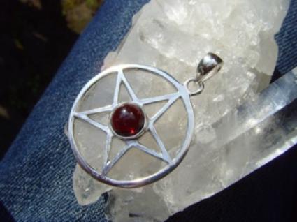 Pentagramm - Granat 925er Silber