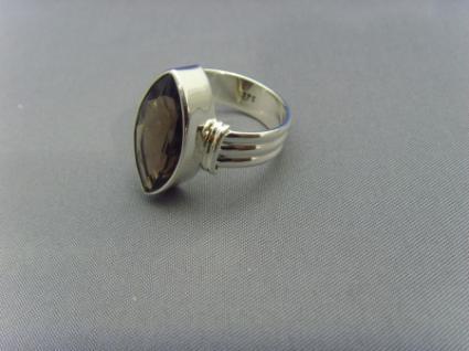 Rauchquarz - Ring 925er Silber Facettenschliff - Navettenform - Vorschau 4