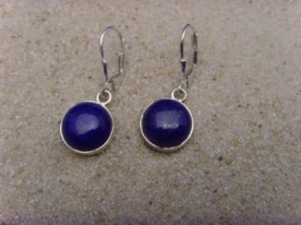 Lapis - Lazuli 0hrhänger 925 er Silber runde Form