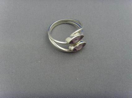 Amethyst - Ring 925er Silber Navettenform - Vorschau 4