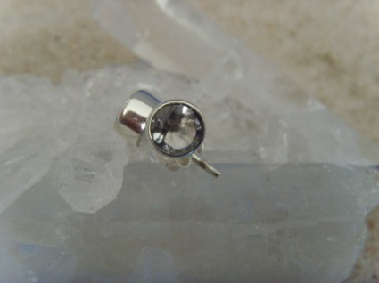 Ohrstecker-Bergkristall facettiert - rund - 925er Silber