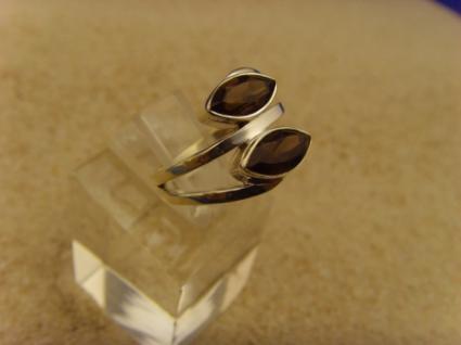 Rauchquarz Ring 925 er Silber Navettenform